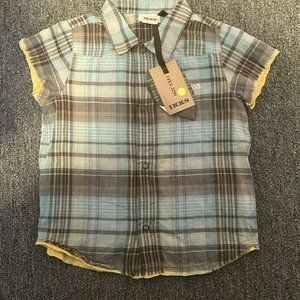 Ikks Boys Plaid Snap Front Shirt 24 Month Short